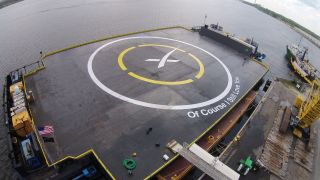 SpaceX's drone ship Of Course I Still Love You is seen in Port Canaveral, Florida in 2015 as it entered service as an East Coast rocket landing pad for Falcon 9 launches.
