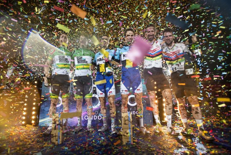 The final podium of the 2016 London Six Day. Photo by Justin Setterfield/Getty Images