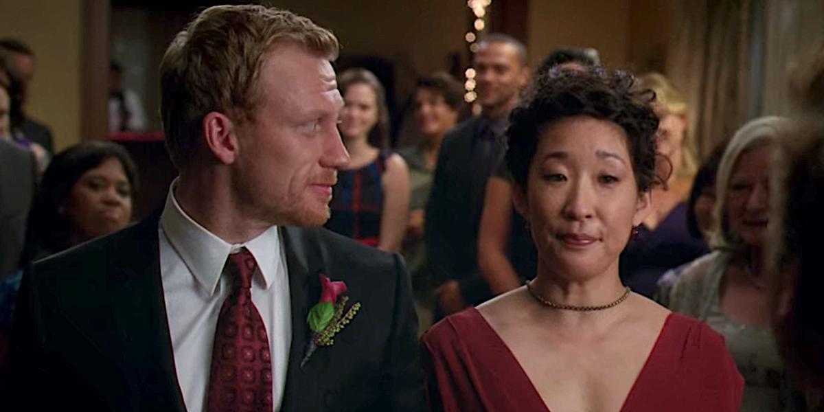 Grey's Anatomy Owen Hunt looks at Cristina during their wedding ceremony