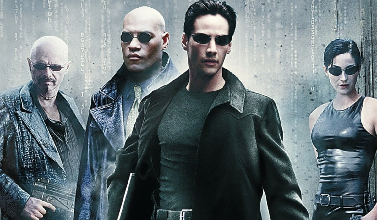 The Matrix Cypher, Morpheus, Neo, and Trinity lined up against grey code