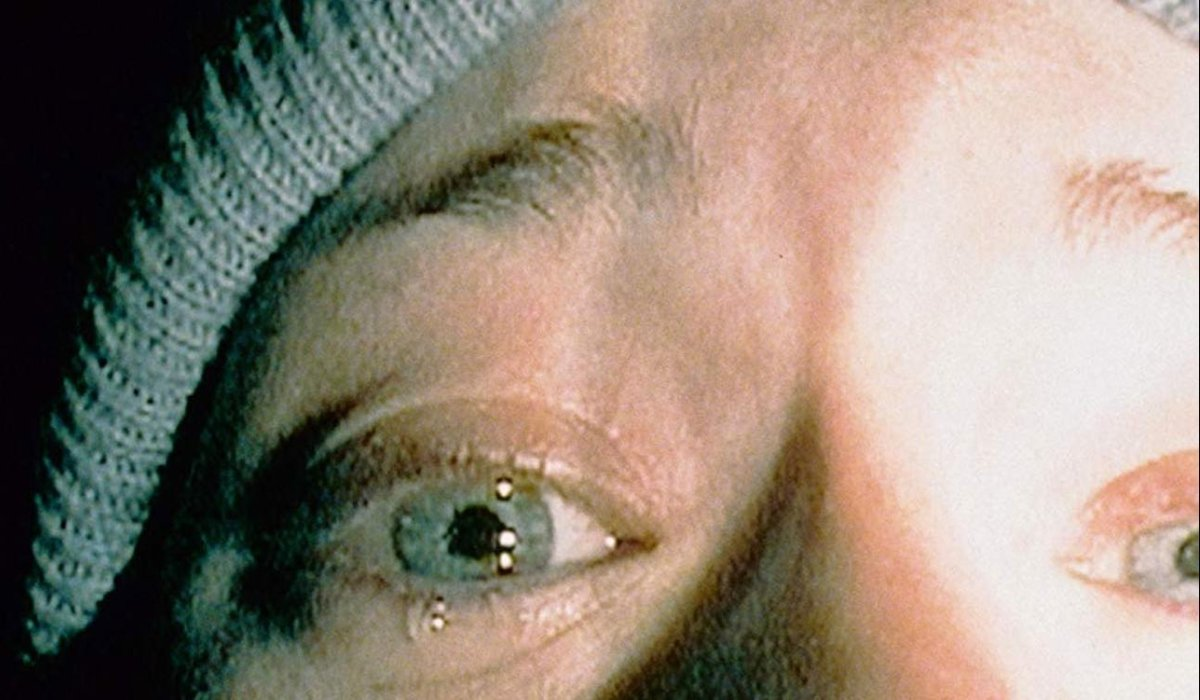 The Blair Witch extreme close up on a crying Heather