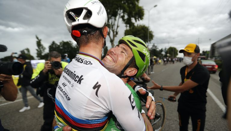 Mark Cavendish and Julian Alaphilippe celebrate victory