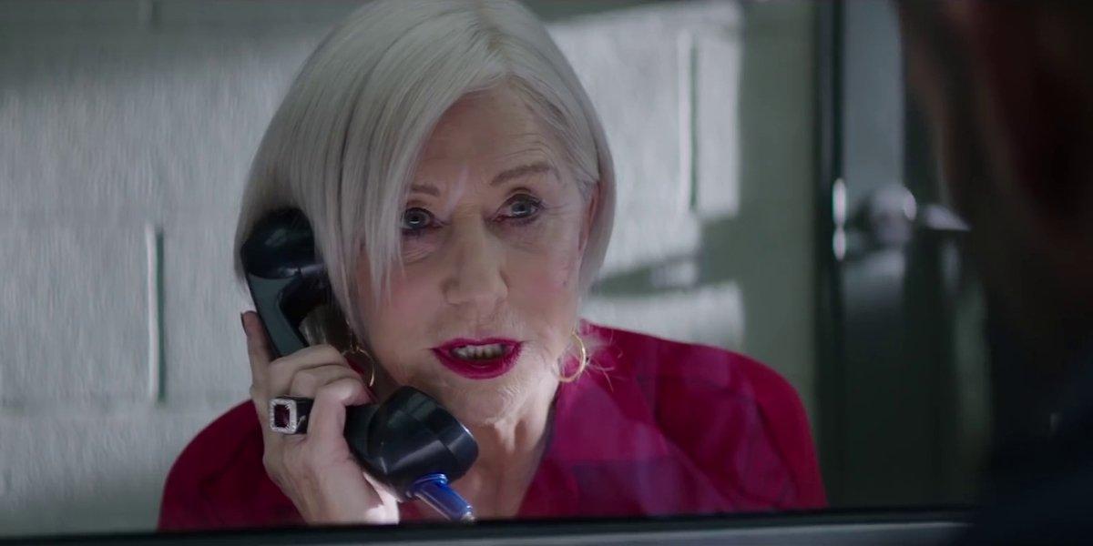 Helen Mirren speaking on phone in Hobbs and Shaw
