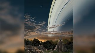 What the sky might look like if Earth had rings like Saturn, from the perspective of Guatemala.