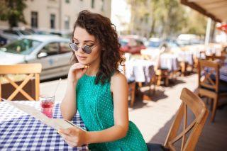 Beautiful single woman at a restaurant.