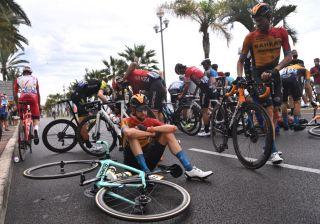 Wout Poels (Bahrain McLaren) crashed during stage 1 of the Tour de France