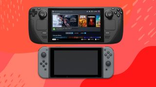 Steam Deck and Nintendo Switch size comparison against red background