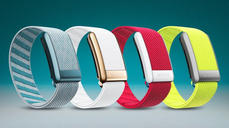 The Whoop 4.0 fitness tracker, shown in four different color options - blue, white, pink and neon yellow