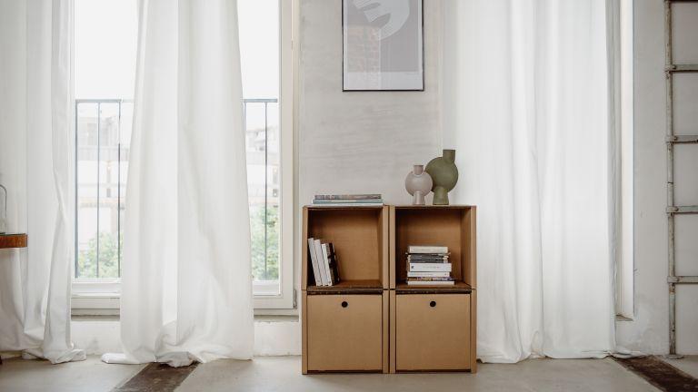 Cardboard cupboard in a bedroom