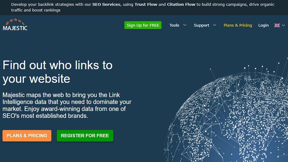 Website screenshot for Majestic SEO Tools