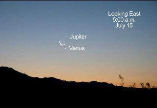 Venus, Jupiter and the Crescent Moon in July 2012