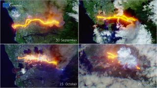 A series of images captured by the European Sentinel 2 satellite shows the devastation caused by the Cumbre Vieja volcano on Spain's island of La Palma one month after the eruption's onset.
