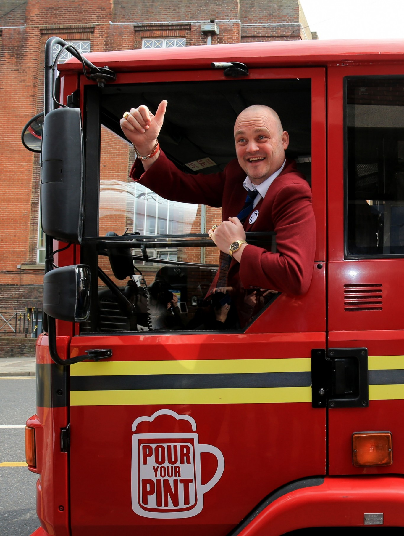Al Murray arrives in a converted fire engine at Thanet District Council