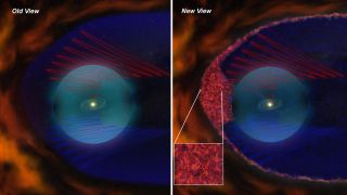 Old and new views of the heliosheath. Red and blue spirals are the gracefully curving magnetic field lines of orthodox models. New data from Voyager add a magnetic froth (inset) to the mix.