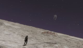 A tiny astronaut stands on a huge, barren planet
