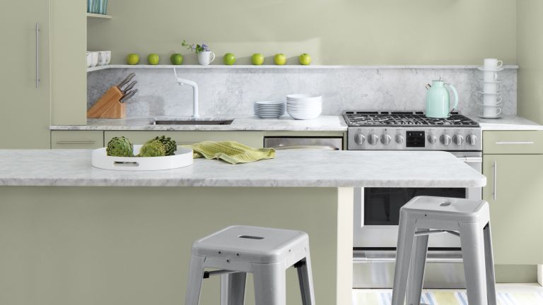Benjamin Moore Color of the Year October Mist in a kitchen