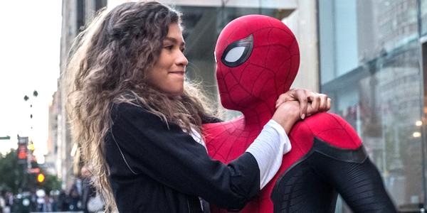 Spider-Man Far From Home Zendaya Tom Holland MJ arms around Spider-Man