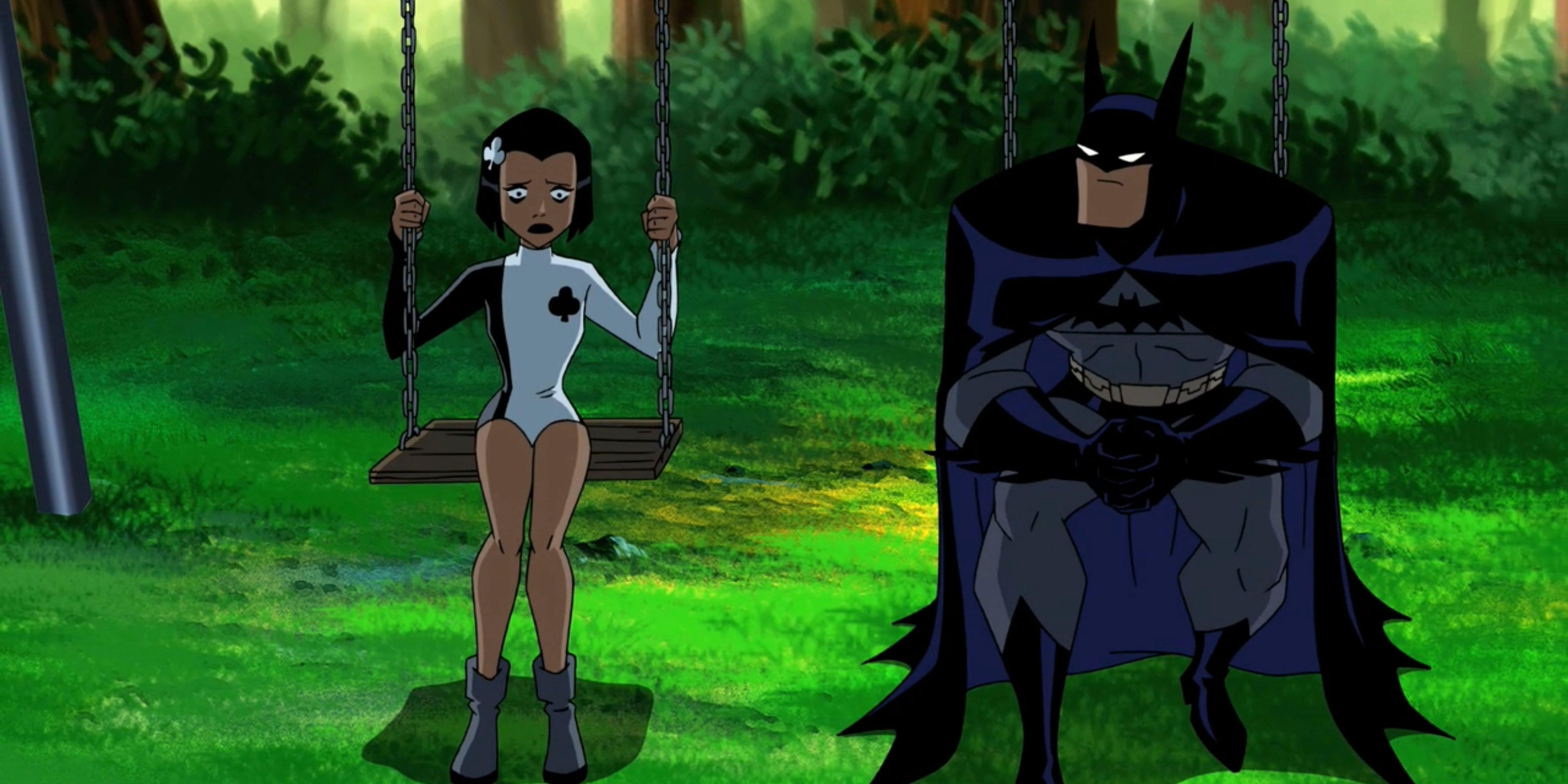Batman comforts Ace of the Royal Flush Gang.
