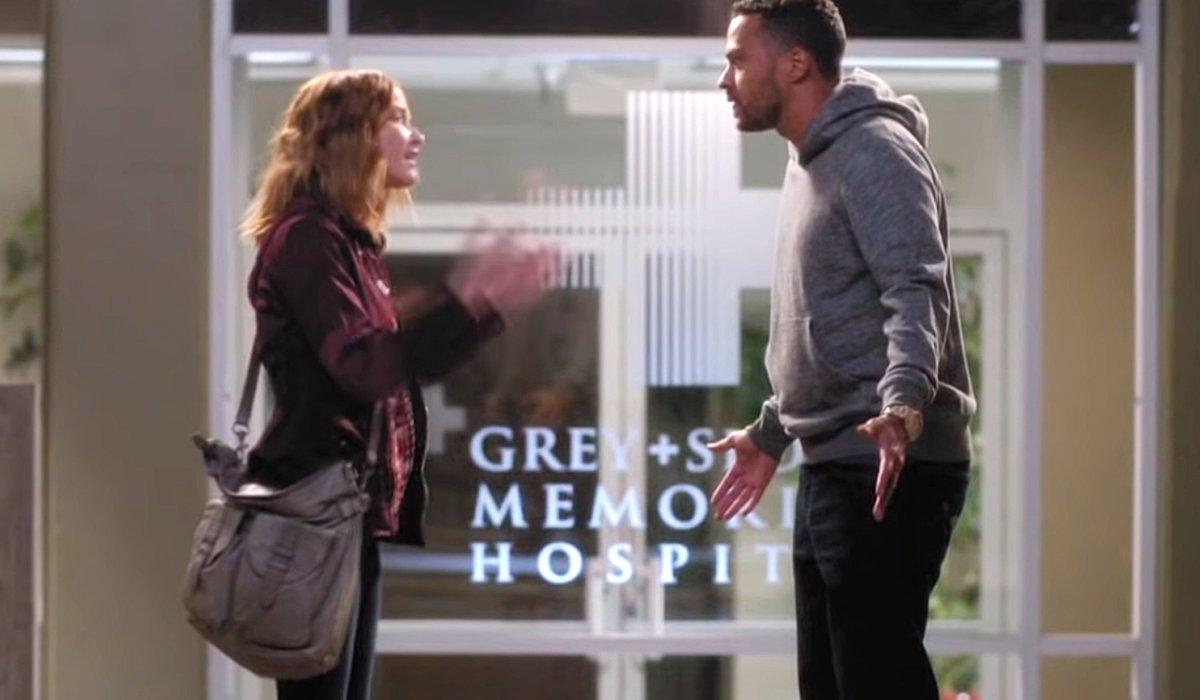 Grey's Anatomy Season 12 April and Jackson fight outside Grey Sloan hospital ABC