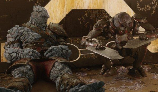 Thor: Ragnarok Korg and Miek resting between battles
