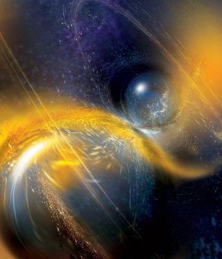 Artist's rendition of a binary neutron star merger.