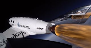 Virgin Galactic's SpaceShipTwo space plane rockets through the stratosphere at 71,000 feet, its highest flight yet, during its third powered test flight on Jan. 10, 2014. The supersonic flight occurred over California's Mojave Air and Space Port.