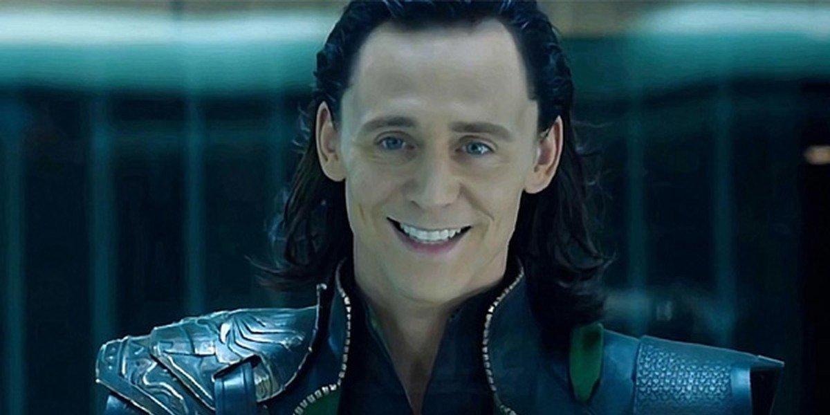 Loki (Tom Hiddleston) smiles in The Avengers (2012)