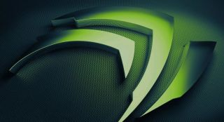 Green Nvidia logo up close