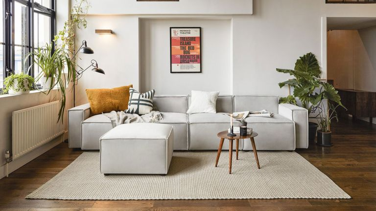 Swyft sofa model 03 in living room with ottoman