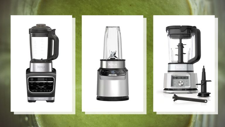 images of three of w&h's picks of the Ninja blenders on sale on a green smoothie background