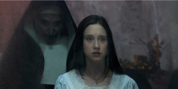 The Nun Bonnie Aarons Taissa Farmiga The Nun creeping behind Sister Irene