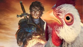 An illustration showing the hero of Fable 3 reaching for a chicken.