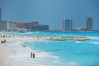 Beach at Cancun, Mexico.