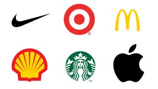 Logos for Nike, Target, McDonalds, Shell, Starbucks and Apple