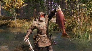 New World fisherman holding a fish