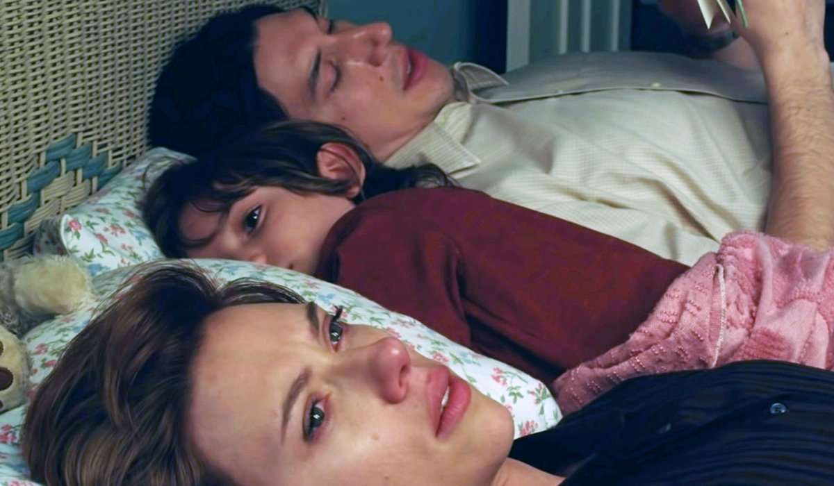 Scarlett Johansson Adam Driver in bed with son Netflix