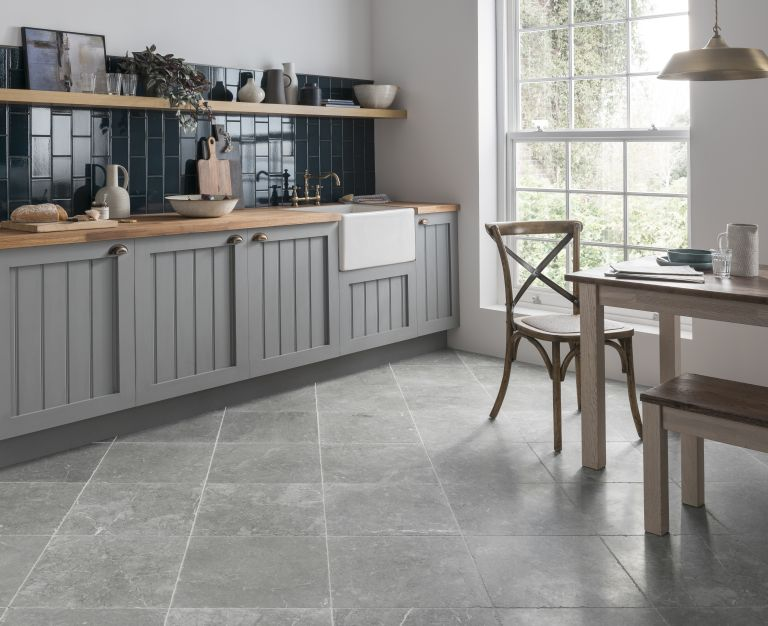 natural stone flooring Mona grey honed limestone flooring in a kitchen