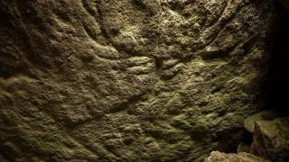One of the two red deer stags carved into the underside of the capstone covering the burial chamber in Dunchraigaig Cairn.