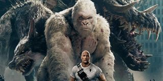 Rampage Dwayne Johnson with Ralph George and Lizzie towering over him