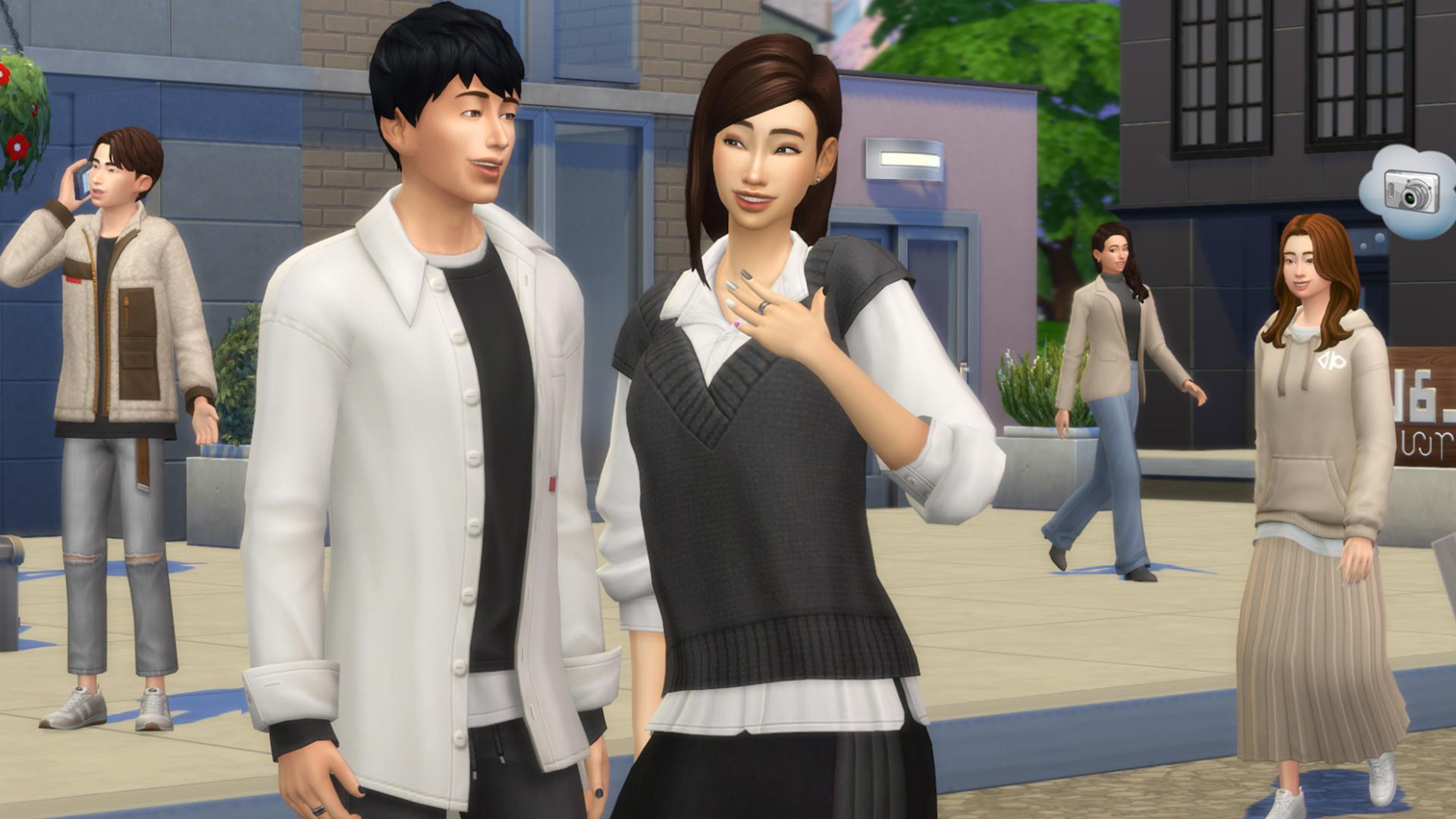 Sims dressed in South Korean style clothes