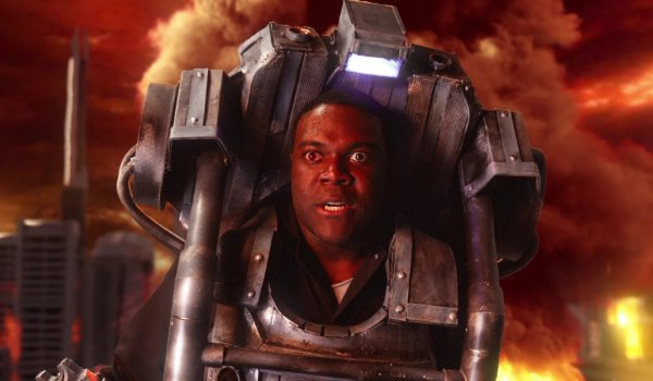 I Think You Should Leave Sam Richardson fights in a post apocalyptic mech suit