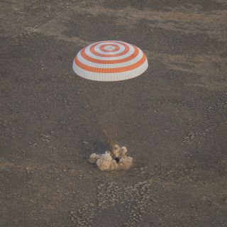 A Soyuz MS-01 space capsule lands safely on Earth to return astronauts for NASA, Japan and a Russian cosmonaut back to Earth. The Soyuz landed in a remote region of Kazakhstan on Oct. 30, 2016 local time (late Oct. 29 EDT).