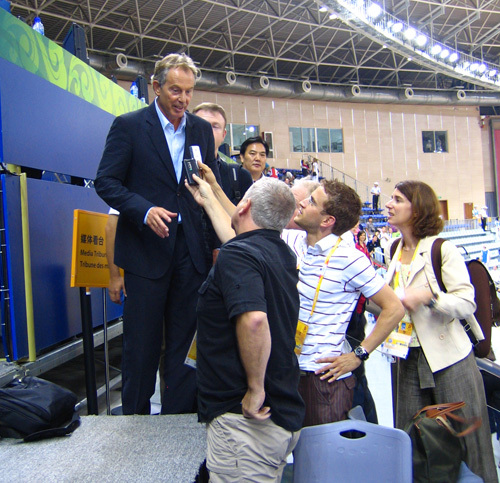 Tony Blair cycling Olympics 2008