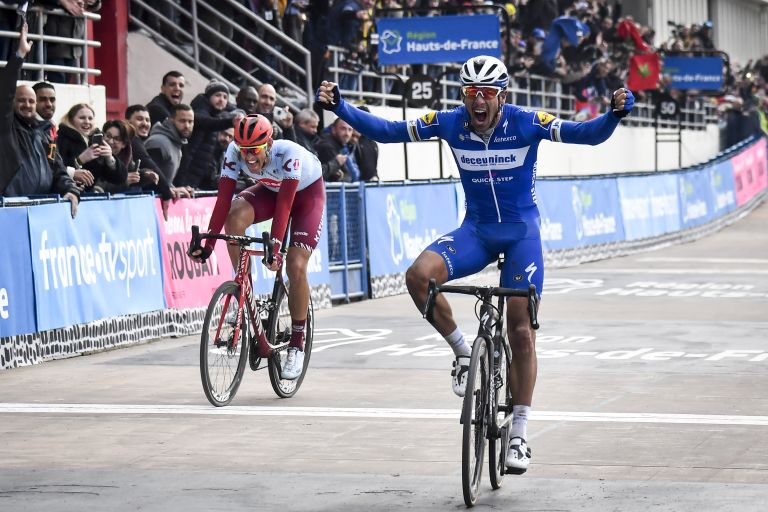 Philippe Gilbert beating Nils Politt to the line at the 2019 Paris-Roubaix