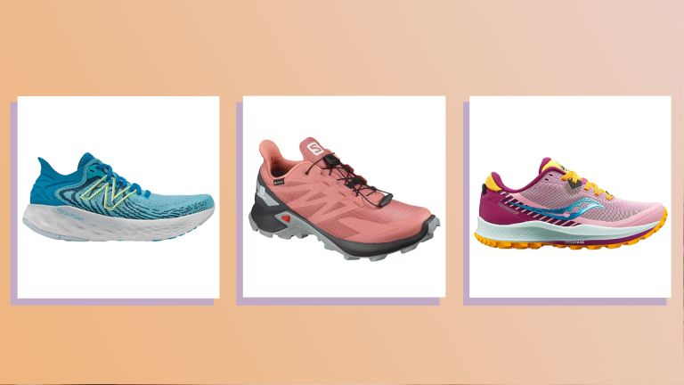 three of the best running shoes on peach background