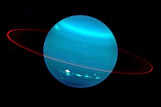 Methane in the atmosphere gives Uranus its blue hue, as seen in this image from the Keck telescope from 2004.