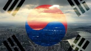 South Korea flag over Seoul.