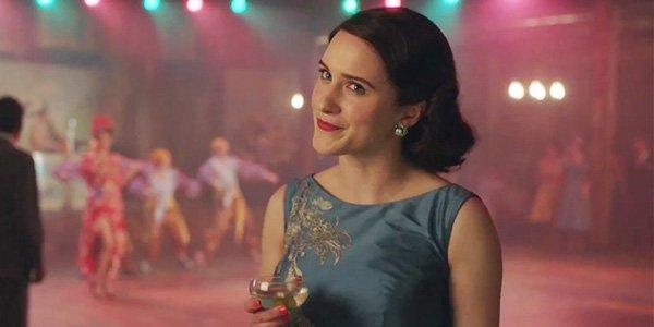 rachel Brosnahan in blue dress in The Marvelous Mrs. Maisel Season 2
