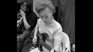 Carol Kaye plays bass guitar in a Los Angeles recording studio in the mid 1960's