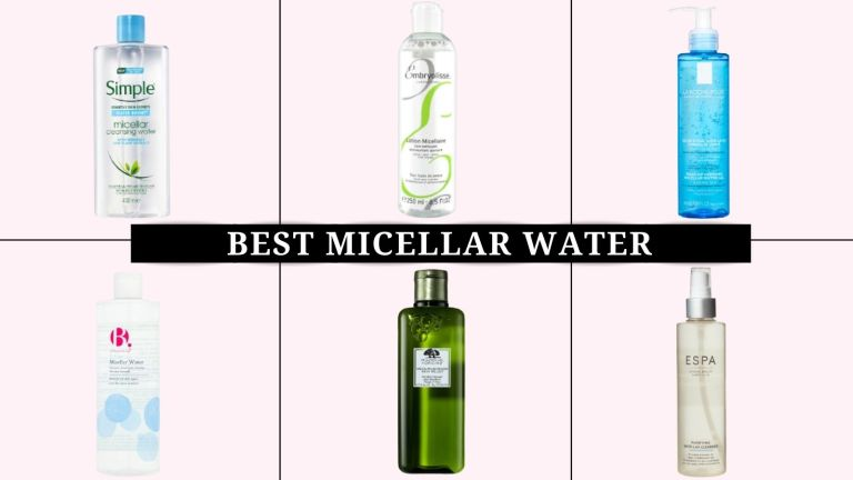 Six of the best micellar waters on a pink backdrop